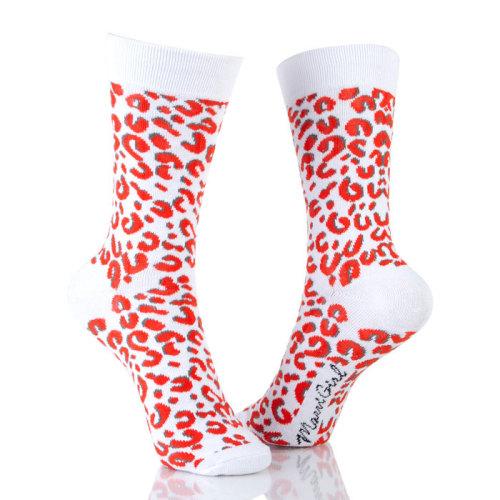 Womens Sox Colored Crew Comfy Leopard Socks