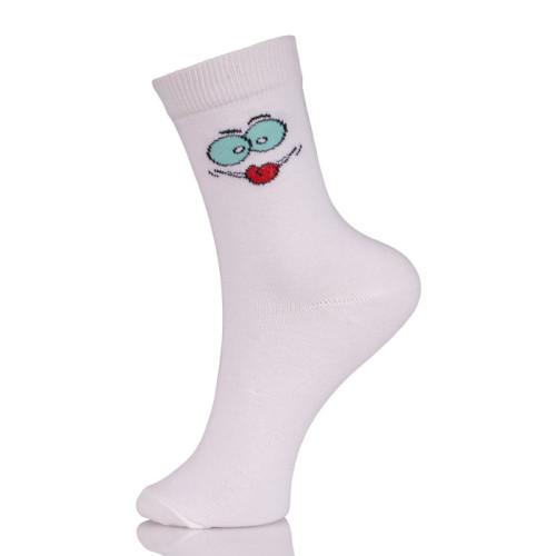 Womens Holiday White Socks Smile Hosiery