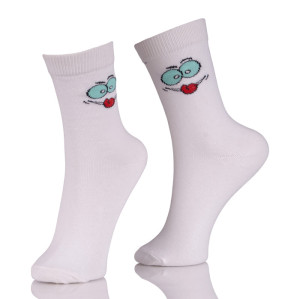 Womens Holiday White Socks Smile Hosiery