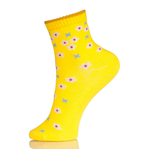 Japanese Ankle Brace Yellow Socks With Flowers