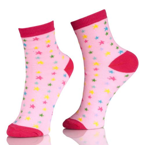 Hot Sale Girl Plain Ankle Socks With Stars