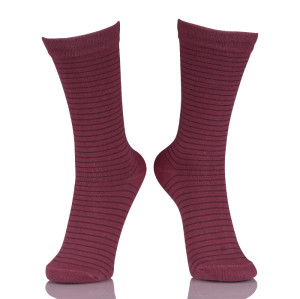 Wholesale Red Tube Women Socks Striped