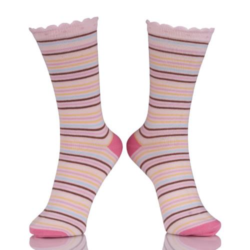 Bulk Wholesale Colorful Stripes Tube Socks Pink