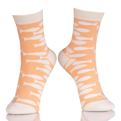 Animal Pattern Girls Tube Socks With Orange Fish