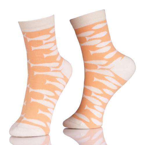 Animal Pattern Girls Tube Socks With Orange Fish