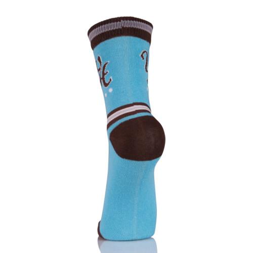 100% Polyester Active Crew Blue Socks