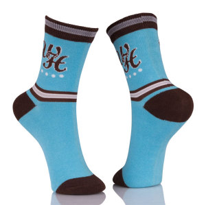 100% Polyester Active Crew Blue Socks
