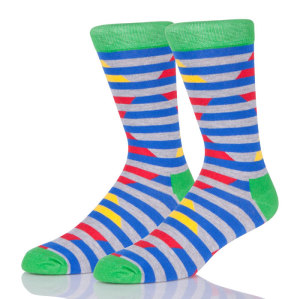 Young Men Grey Sock Blue Stripes