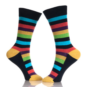 Stripes Long Colorful Men'S Socks Stock Sales