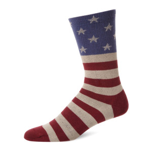 Copper Stripe American Flag Star Printing Socks