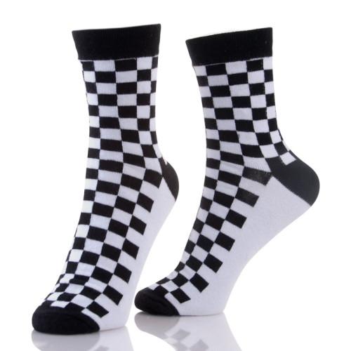 Cotton Slouch Tartan Men's Black Socks Crew