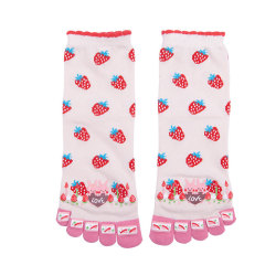Cute Strawberry Custom Yoga Pilates Latex Toe Socks