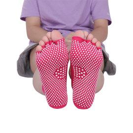 Athletic Toe Yoga Socks Custom Grip Logo