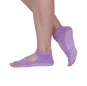 Athletic Toe Yoga Socks Custom Grip Logo