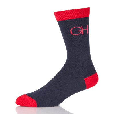 Custom Logo Black Sock With Red Toe