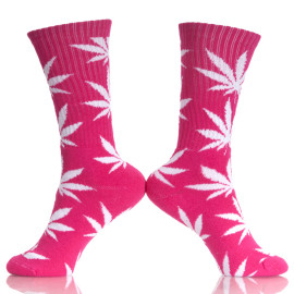 Weed Pattern Peach Sports Comfortable 100%  Hemp Socks Woman