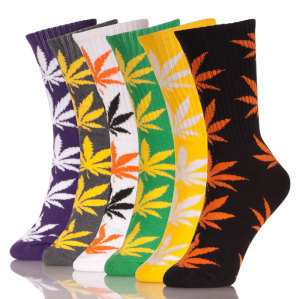 Boys Hemp Pattern Leaf Fashion Socks Wholesale