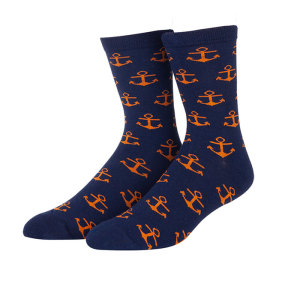 Classic Fancy Chic Colorful Sea Anchor Jacquard Custom Men Socks