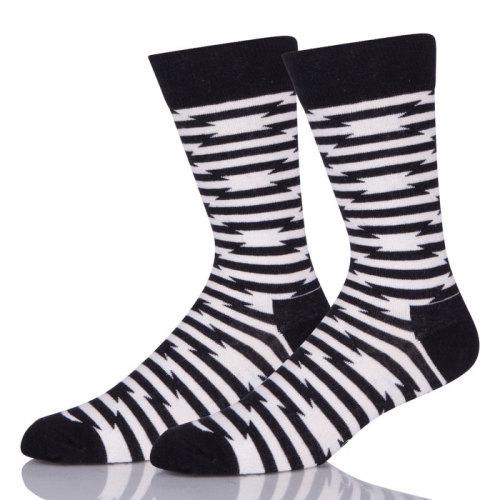 Black And White Stripes Zebra Pattern Custom Socks Men