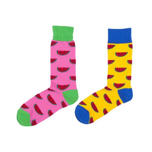 Eco-friendly Summer Pink Watermelon Crew Custom Logo Soft Socks Men
