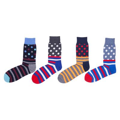 Navy Blue Long Knitting Point And Stripe Socks For Women