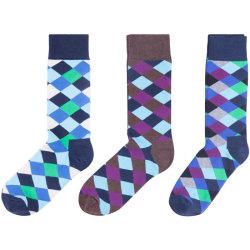 Colorful Mens Socks Anti-Skid Comfortable Rhombus Cotton Socks