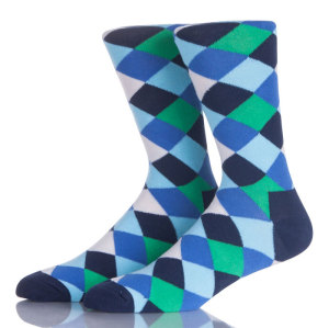 Colorful Mens Socks Anti-Skid Comfortable Rhombus Cotton Socks