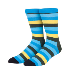 Factory Low MOQ Wholesale Custom Dress Striped Cotton Crew Socks