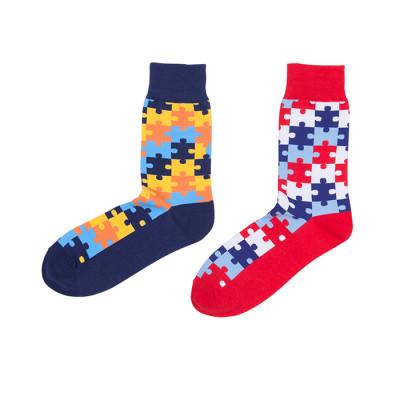 Bulk Wholesale Custom Colorful Classic Puzzle Pattern Fun Socks