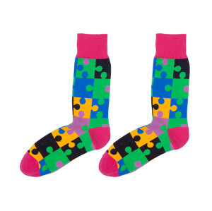 Bulk Wholesale Custom Colorful Classic Puzzle Pattern Fun Socks