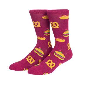 New Creative Designer Hamburger Fries Hot Dog Pattern Cotton School Socks Man