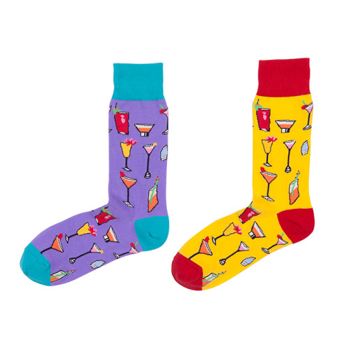 Bright and colorful Stock Comfortable Soft Socks Cotton Youth Wine Socks