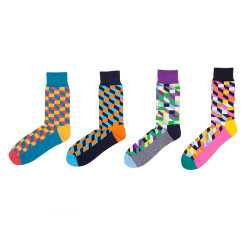 Hot Selling Fancy Crazy Color Knitting Novelty Crew Socks For Men