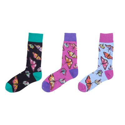 Wholesale Custom Colorful Butterfly Pattern Fuzzy Socks Unisex