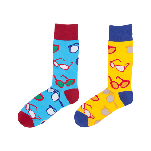 Customized Knit Glasses Pattern Printed Cute Korean Socks Colorful Men