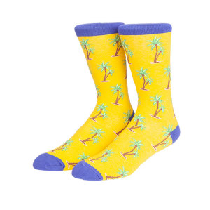 2019 Popular Coconut Tree Pattern Korean Funny Colored Socks Men