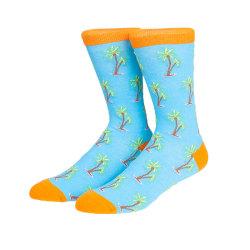 Bright color Beach Coconut Tree Fruit Socks Custom Logo Cotton Crew Socks