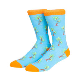 Bright color Beach Coconut Tree Fruit Socks Custom Logo Cotton Crew Socks