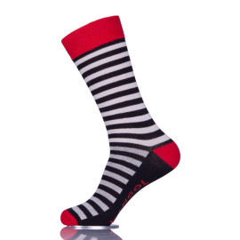 Black And White Striped Fun Mens Dress Ankle Socks