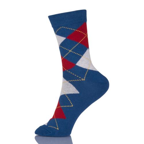 Men Summer Combed Cotton Socks Casual Plaid Design Funny Socks