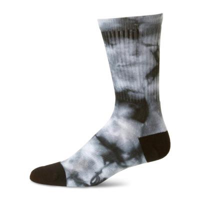 Men's Novelty Colorful Tie Dye Dark Gray Strip Crew Skate Socks