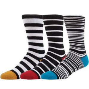 Custom Low MOQ High Quality Man Stripe Pattern Funny Fashion Crew Socks