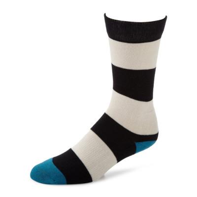 China Factory Popular Custom Mens Black White Stripe Cotton Crew Socks