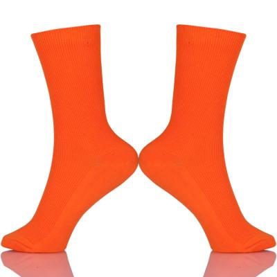 Women Cotton Loose Crew Fashion Socks In Tube Green Blue Orange Pink