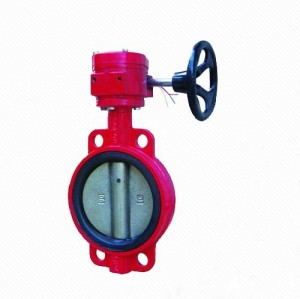 BWSX Cast Iron worm gear driven Fire Control signal Wafer center line Butterfly Valve
