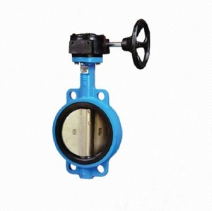 D371X Ductile iron Viton seat hand wheel Manual wafer butterfly valve