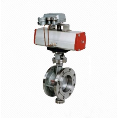 DT643H Eccentric Elastic Metal Seal Pneumatic Flanged Butterfly Valve