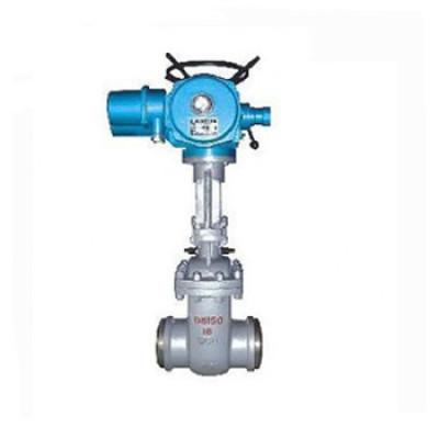 Motorized water seal butt weld gate valve