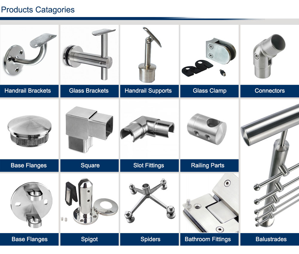 A full range of modular stainless steel railing system include handrail brackets, connectors and end caps, glass clamps and adaptors, base flanges and balustrade brackets, railing parts, u profiles and frameless railing, balusters, bathroom accessories, curtain wall spiders, high quality and competitive price