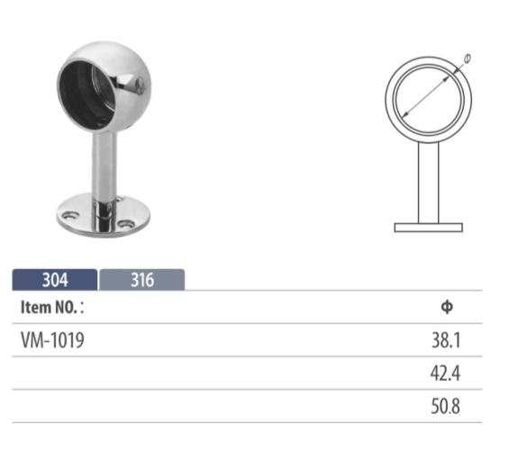 top rail holder for round stainless steel tube or wooden handrail